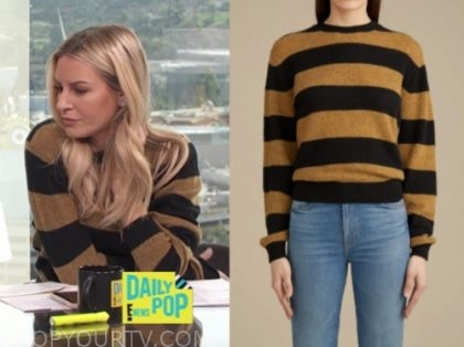 morgan stewart, E! news, daily pop, tan and black stripe sweater