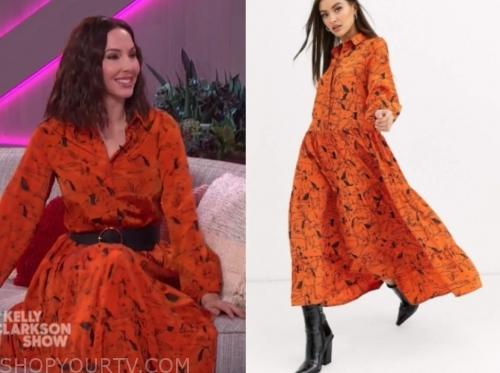 whitney cummings, the kelly clarkson show, orange horse print dress