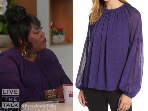 sheryl underwood, the talk, purple metallic dot blouse