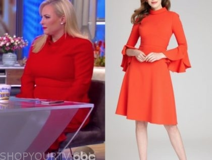 meghan mccain, the view, red mock neck dress
