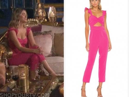 the bachelor, mykenna d., hot pink cutout ruffle jumpsuit