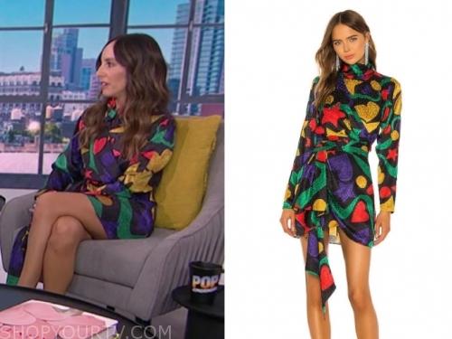 lilliana vazquez, E! news, multicolor silk printed mini dress
