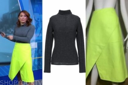 good morning america, ginger zee, neon skirt, turtleneck