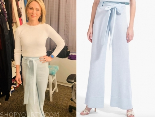 amy robach, blue tie waist pants, good morning america