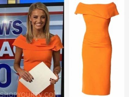 fox and friends, carley shimkus, orange sheath dress