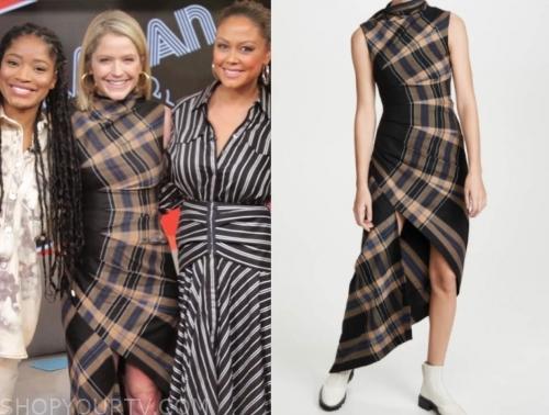 sara haines, gma3, plaid asymmetric dress