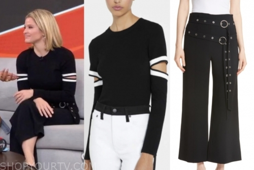 sara haines, gma3, belted pants, black cutout sweater