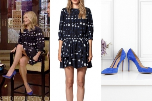 live with kelly and ryan, kelly ripa, navy blue and white polka dot dress