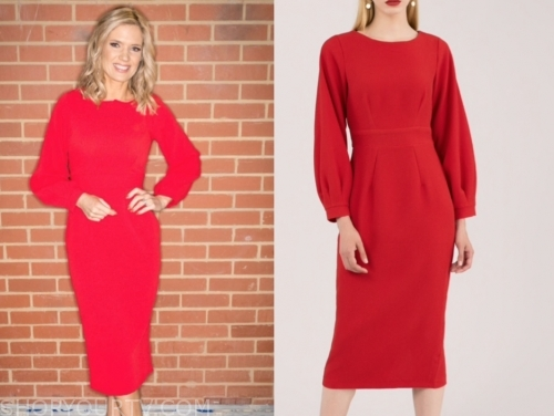 good morning britain, charlotte hawkins, red midi dress