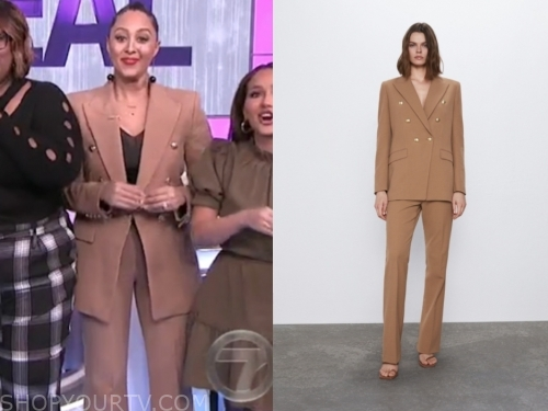 tamera mowry, the real, camel pant suit