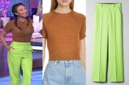 jeannie mai, neon green pants, the real, brown sweater
