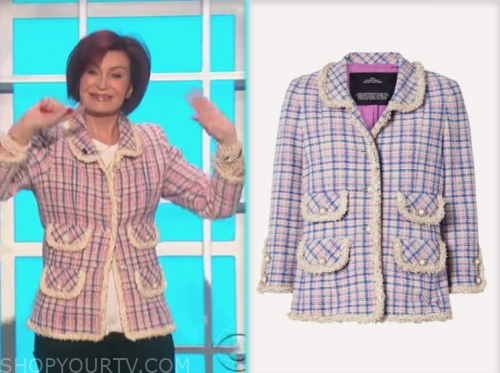 the talk, sharon osbourne, tweed pearl jacket