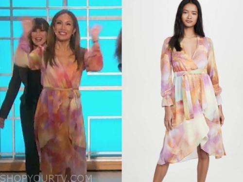 the talk, carrie ann inaba, multicolor tie dye wrap dress