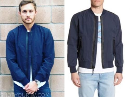 peter weber, the bachelor, navy blue bomber jacket