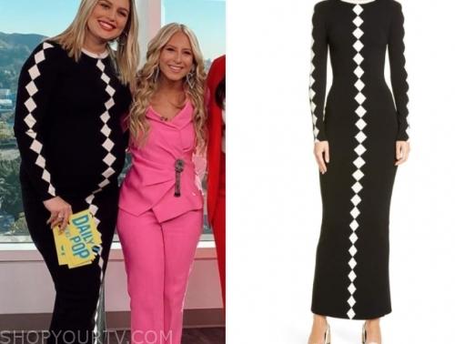 carissa culiner, E! news, black and white diamond print knit dress