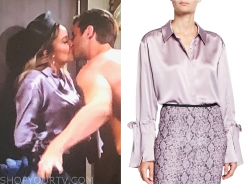 abby newman, the young and the restless, melissa ordway, lilc satin blouse