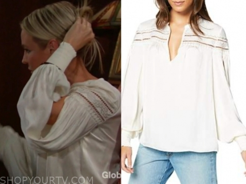 sharon case, sharon newman, the young and the restless, ivory embroidered blouse