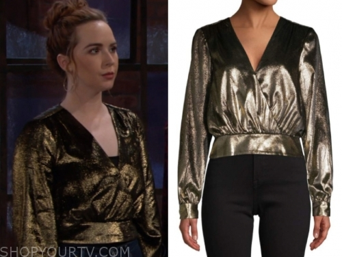 mariah copeland, camryn grimes, the young and the restless, gold metallic blouse