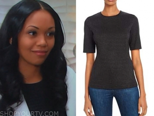 amanda sinclair, the young and the restless, mishael morgan, houndstooth top