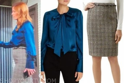 michelle stafford, phyllis newman, blue tie top, tweed skirt, the young and the restless
