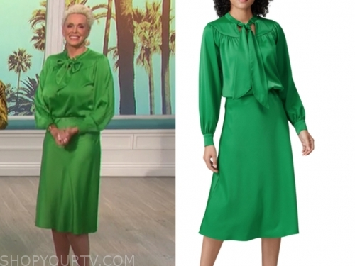 brigitte nielsen, the talk, green tie neck dress