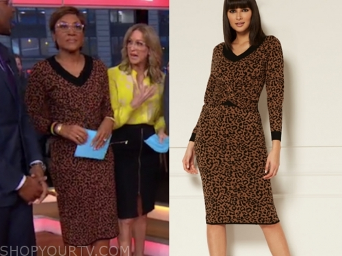 robin roberts, gma, leopard sweater and skirt