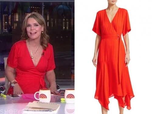savannah guthrie, the today show, red wrap midi dress