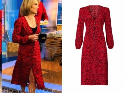 good morning america, amy robach, red and black midi dress