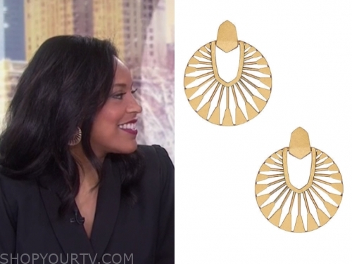 sheinelle jones, the today show, gold disc earrings