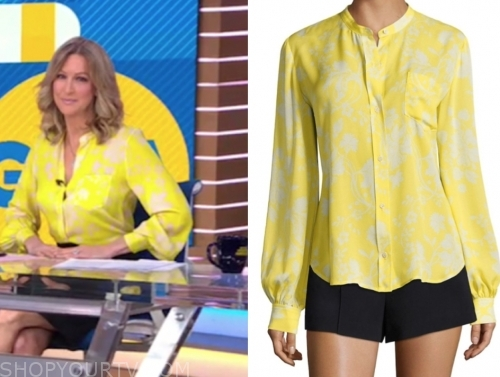 lara spencer, yellow floral blouse, gma