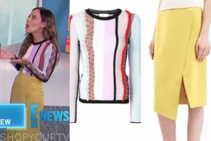 lilliana vazquez, striped sweater, yellow skirt, E! news