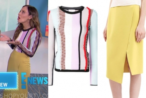 lilliana vazquez, striped sweater, yellow skirt, E! news