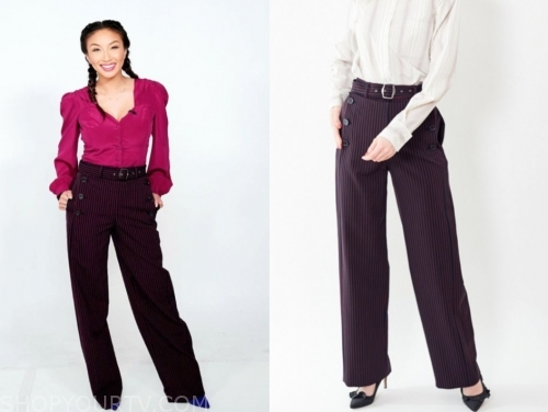 jeannie mai, the real, pinstripe pants
