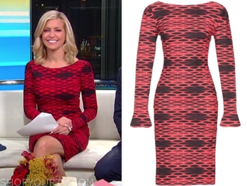 fox and friends, ainsley earhardt, red and black printed dress