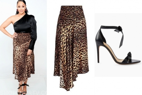 tamera mowry, the real, leopard skirt, black knot sandals
