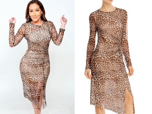 adrienne bailon, the real, leopard midi dress