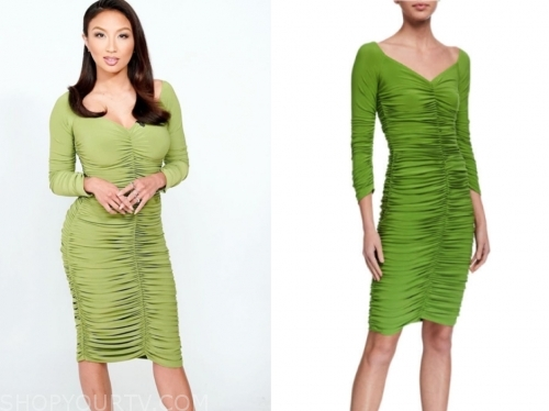 jeannie mai, the real, green ruched dress