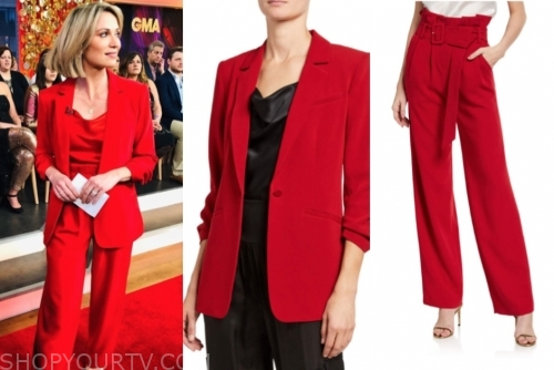amy robach, good morning america, red pant suit