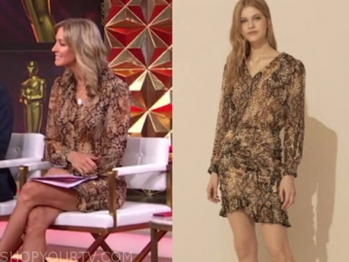 lara spencer, brown snakeskin dress, good morning america