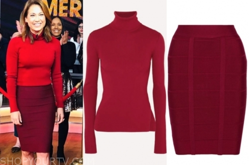 ginger zee, red turtleneck and bandage skirt, gma