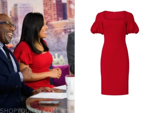 sheinelle jones, the today show, red sheath dress