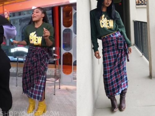 keke palmer, gma3, green sweatshirt, plaid skirt