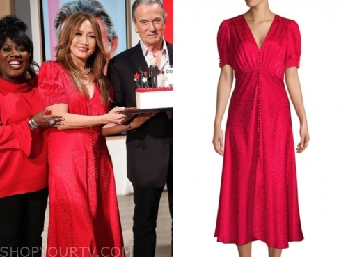 carrie ann inaba, the talk, red silk midi dress