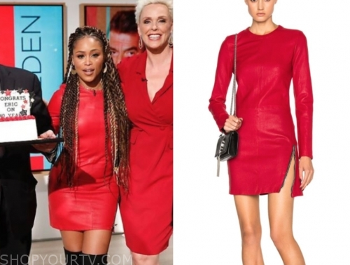 eve, the talk, red leather dress