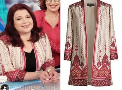 ana navarro, the view, ivory and red embellished jacket