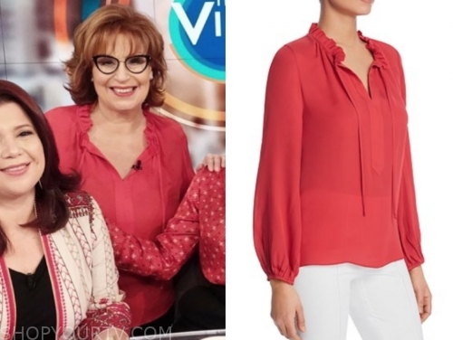 joy behar, the view, red blouse, black glasses