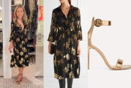 live with kelly and ryan, kelly ripa, black and gold metallic midi dress, gold sandals
