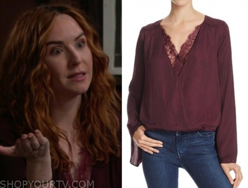 mariah copeland, camryn grimes, the young and the restless, burgundy lace blouse