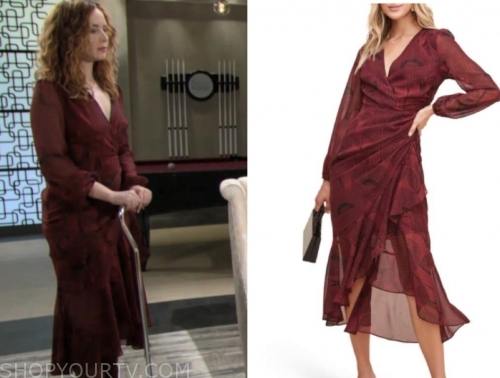 the young and the restless, mariah copeland, camryn grimes, red wrap midi dress