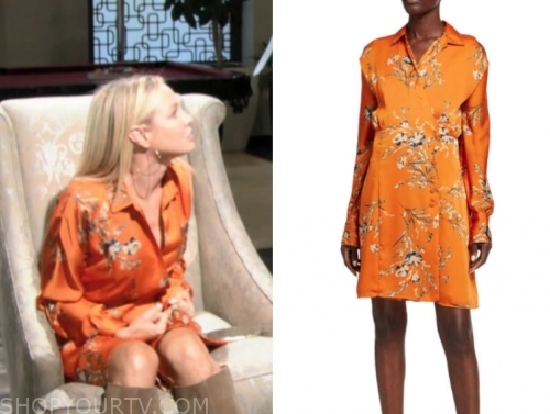 sharon case, sharon newman, the young and the restless, orange floral dress